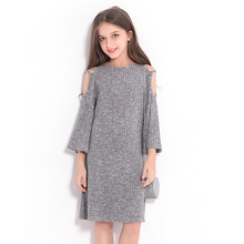 Children's Dresses Winter Clothes Loose Grey Dress Europe and United States Style Girls A-line Slash Neck Dress for Teenagers summer girl a birthday present europe and the united states girls holiday dress nail bead butterfly knot dress cake girls