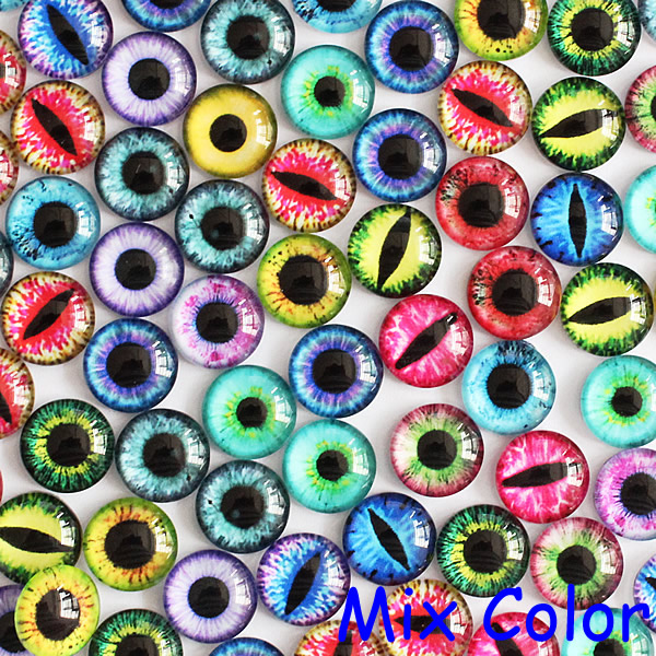 10mm Mix Many Colors For Choice By Pair Dragon Eyes Round Glass Cabochon  Cameo Flatback Photo Settings 50pcs/lot (K02824)