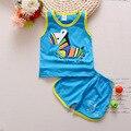 Bebê menino roupas de Marca 2017 crianças roupas de verão define colete + calça terno conjunto de roupas menino Caráter Roupas crianças esporte ternos