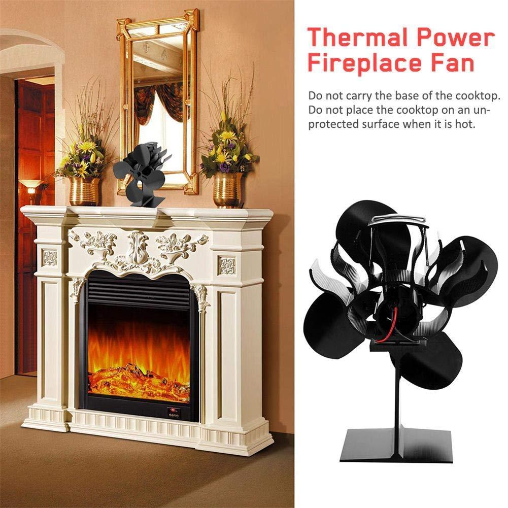 Log Burner Stove Fan 4-Blade Fireplace Fan Upgrade Heat Powered Stove Fan Low En