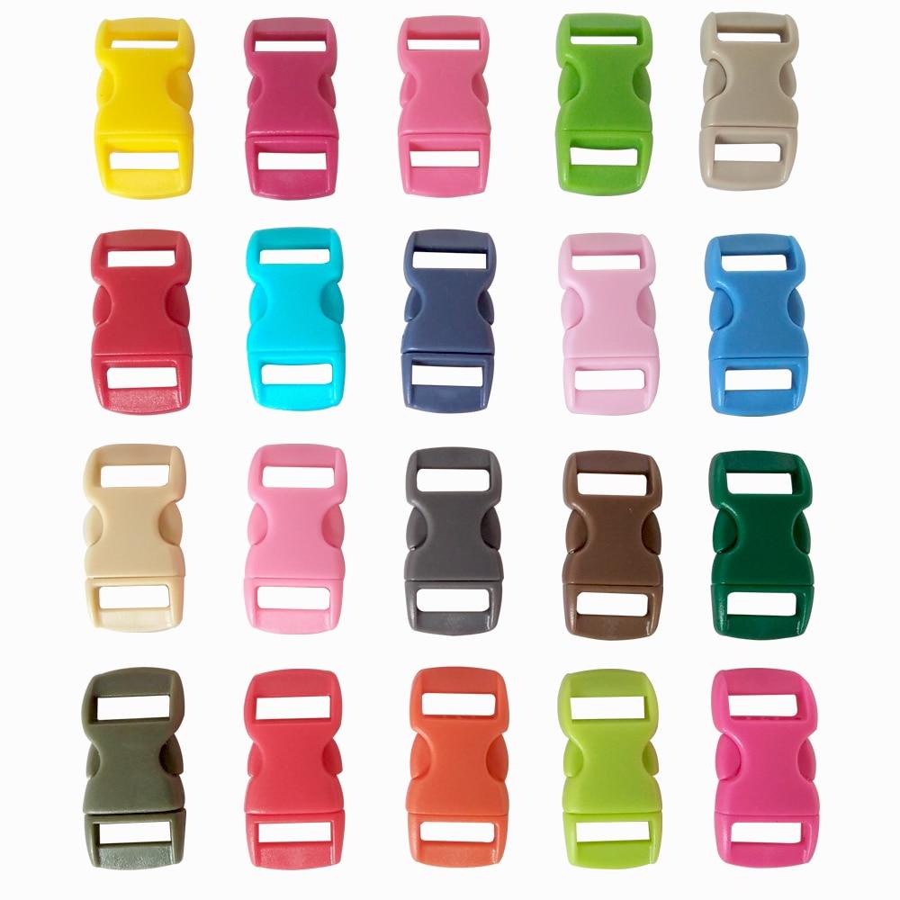 """YOUGLE 100 шт 3/"""" Разноцветные скобы Контурные Изогнутые боковые пластиковые пряжки для паракордового браслета"""