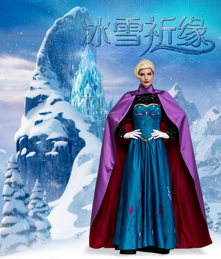 Halloween Snow Queen Princess Anna Cosplay Cinderella Costume For Adult Womens With Cloak Coronation Dress Plus Size XL 2XL