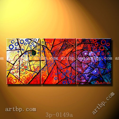 Stained Glass Sea Oil Painting On Canvas Natural Wall Panel 3 Panel ...