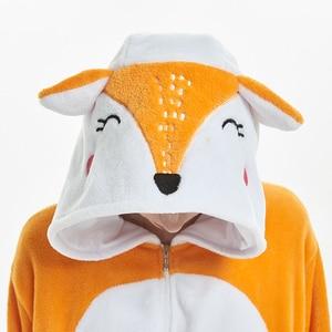 Image 3 - Las mujeres de conjuntos de pijamas de franela de zorro animal carácter animado mono de las mujeres de invierno unicornio camisón Pijamas ropa de dormir Homewear