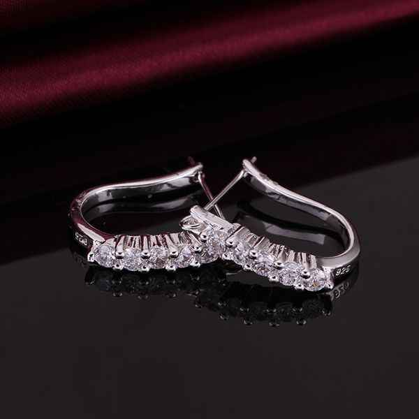 Wholesale High Quality Jewelry 925 jewelry silver plated Cute Zircon Earrings for Women best gift SMTE312