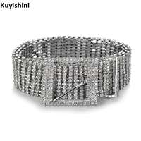 Unisex Luxe Metalen Ketting Elastische Riemen Vrouwen Diamante Crystal Chain riem 8 Rij 10 Rijen Strass Brede Bling Vrouwelijke Taille riem
