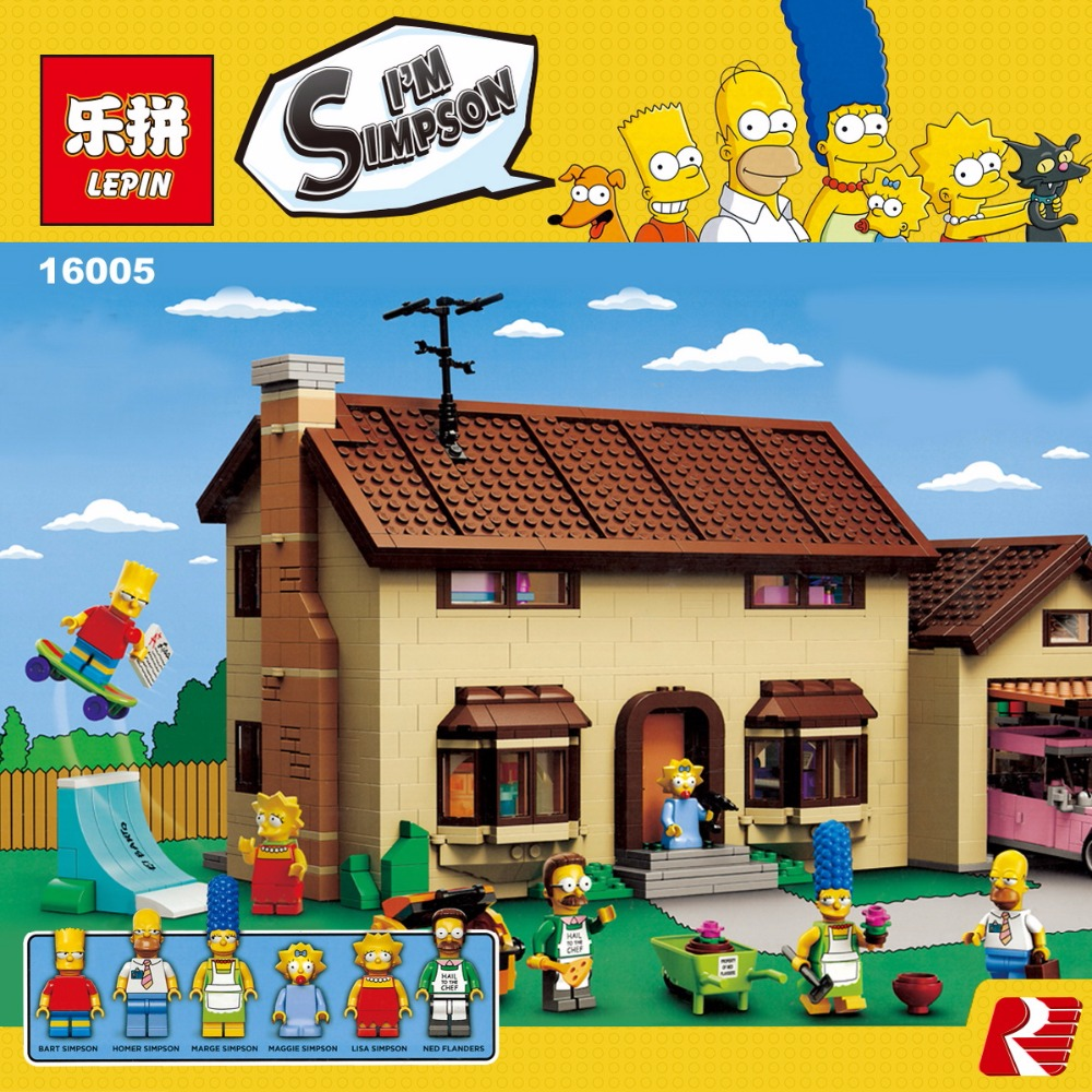 LEPIN 16005 2575Pcs Simpsons House Model Building Block Bricks Kits Educational Toys for Children Compatible legoed 71006 lepin 22001 pirate ship imperial warships model building block briks toys gift 1717pcs compatible legoed 10210