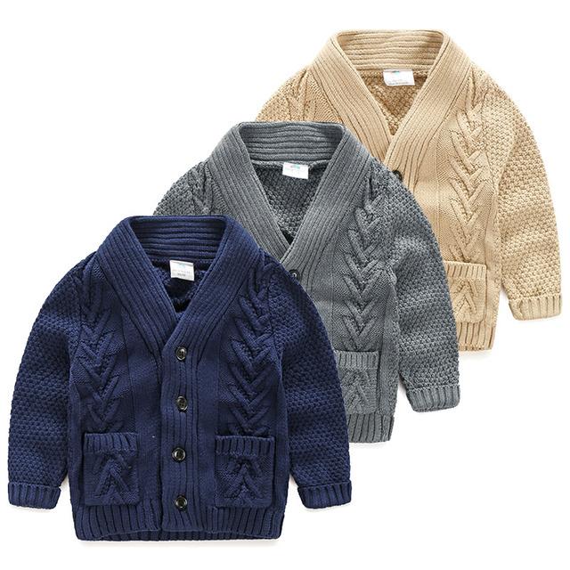 2016 Otoño Invierno Muchachos Niños Cardigan Suéteres Caliente Espesa Bolsillo Chaqueta de Punto niño Niños Cardigan de punto prendas de vestir exteriores