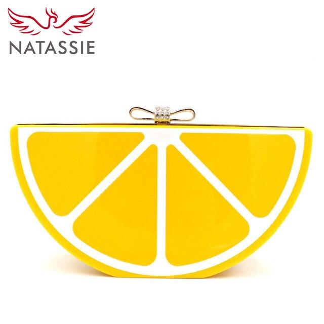 NATASSIE Hot Selling Acrylic Lemon Clutch Bag Wholesale Women Beautiful Fruit Bag A6009