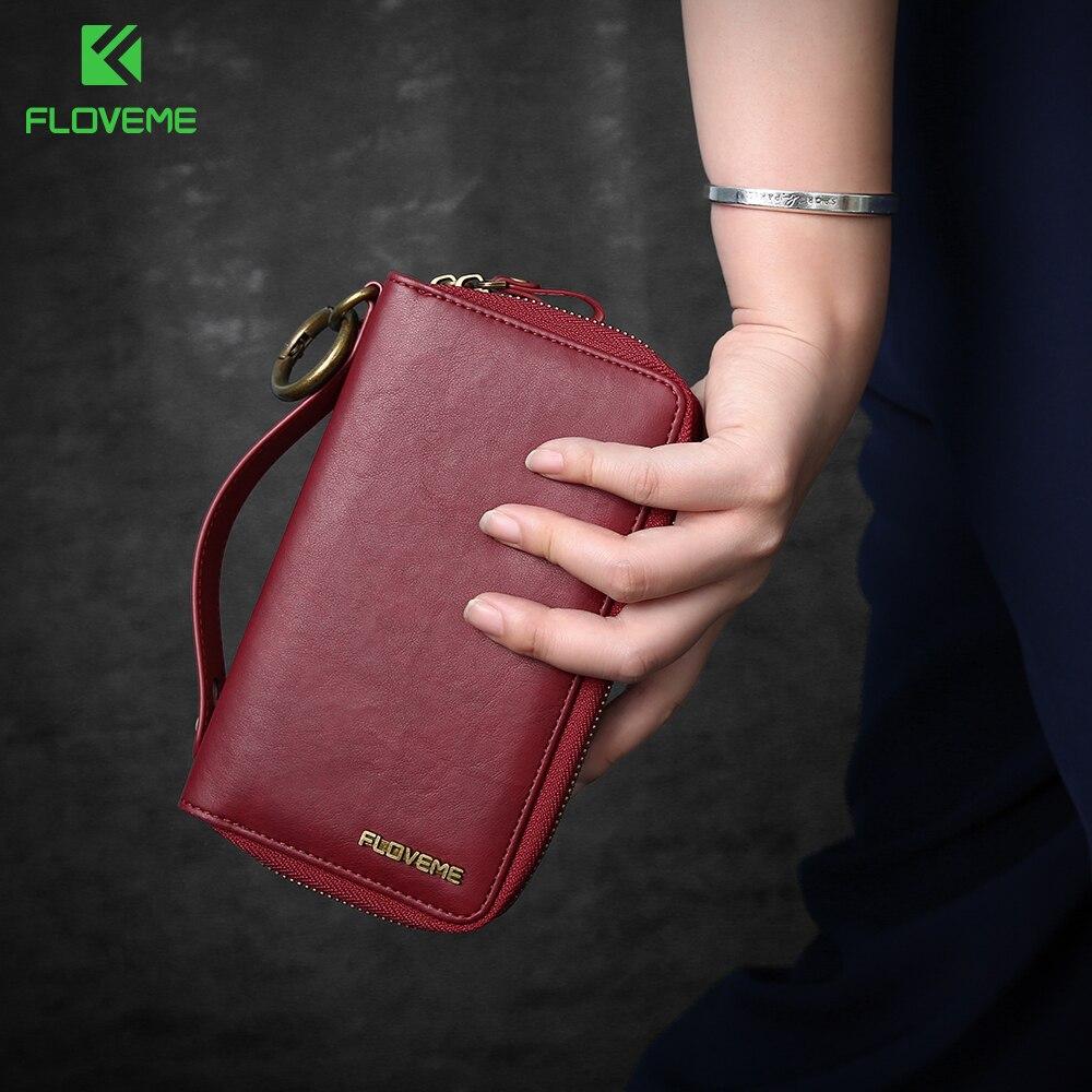 Цена за Floveme Универсальный кошелек кожаный чехол для iPhone 7 6 Plus Samsung Galaxy S8 S7 S6 край J5 J7 Huawei Mate 9 P10 плюс Xiaomi случаях