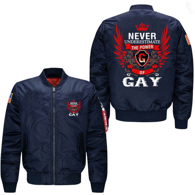 020180f81d3 Never Underestimate The Power Of Gay Men s Bomber Flight Jacket-in ...