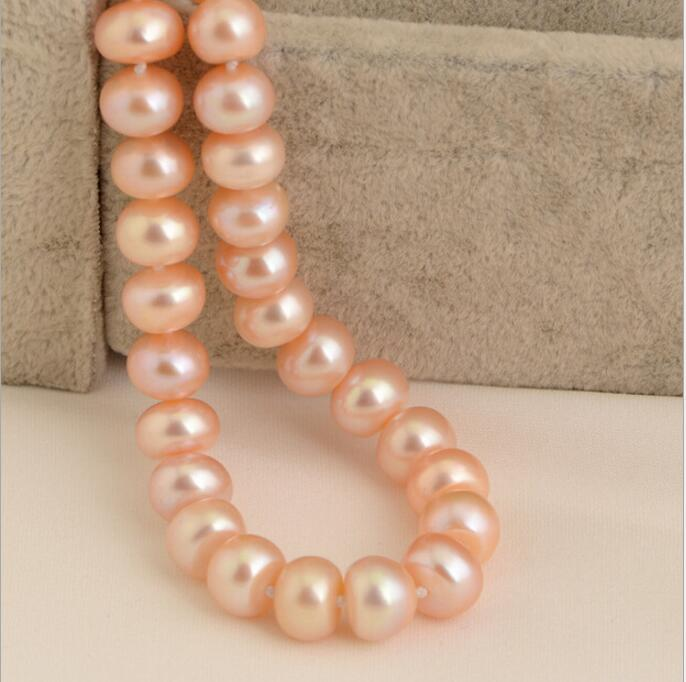 hot-selling +++1116 7-8mm flat natural pearl necklace hot selling 100% natural pseudo ginseng