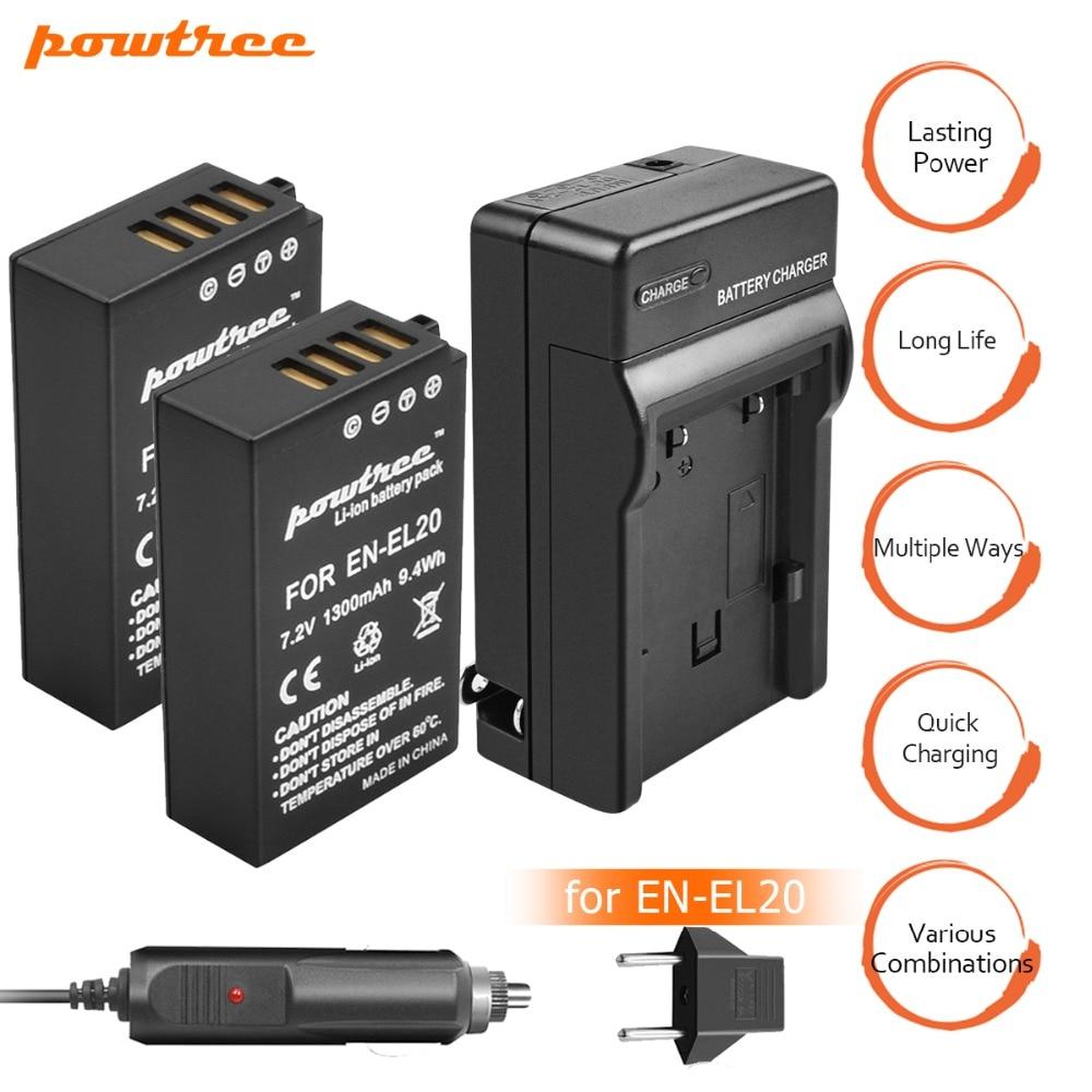Pacotes de 2 EN-EL20 ENEL20 EN EL20 Bateria 7.2 v 1300 mah + Carregador de Bateria + carregador de Carro para Nikon 1 j1 J2 J3 S1 Câmera L15 Da Gota Livre