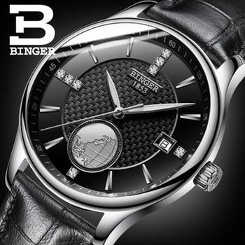 Genuine Luxury BINGER Men Waterproof Stainless Steel Leather Strap Automatic Mechanical Luxury Watch Dial 18K Gold Calendar