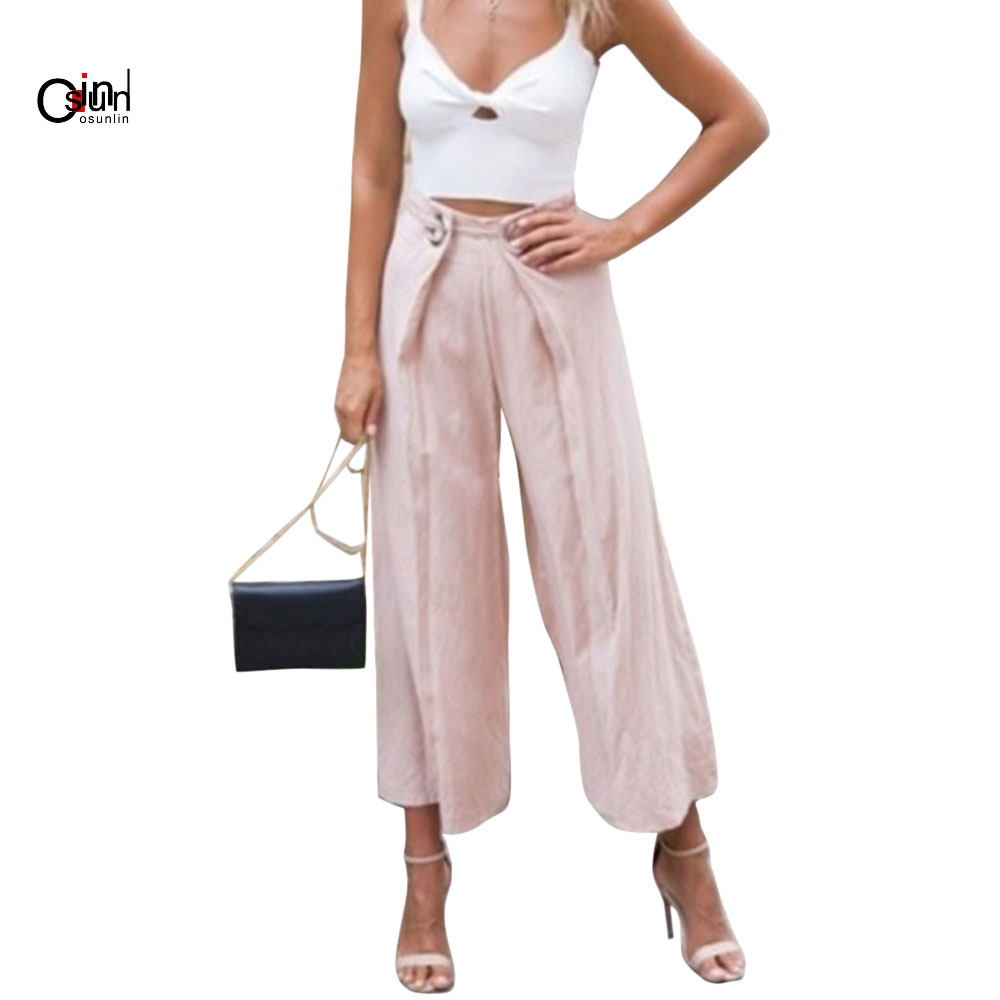 Osunlin Lady Wide Leg   Pants   Women Summer Beach High Waist Trousers Chic Streetwear Sash Sequined Casual   Pants     Capris   Female 5XL
