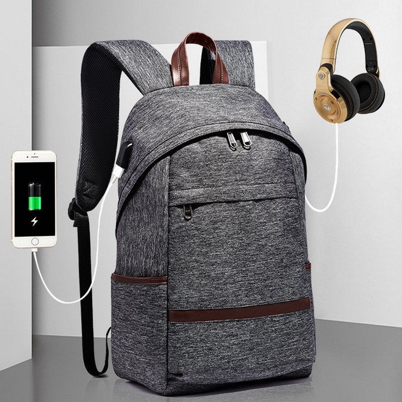 Headphone Interface Anti-theft Backpacks With USB Charge Laptop Women Backpack large Cap ...