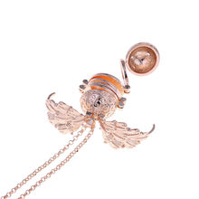 55g Women 5 Photo Expanding Locket Necklace Silver Ball Angel Wing Elegant Retro Pendant Memorial Gifts(China)