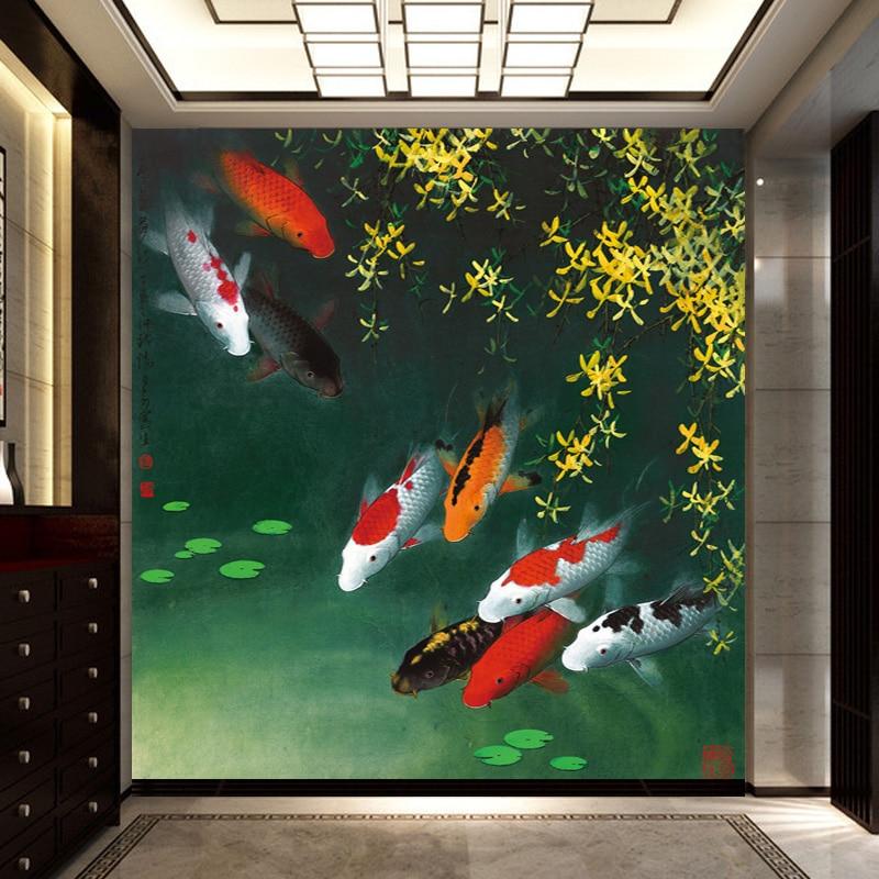 Online kopen wholesale geel bloem behang uit china geel bloem behang groothandel - Schilderij entree corridor ...