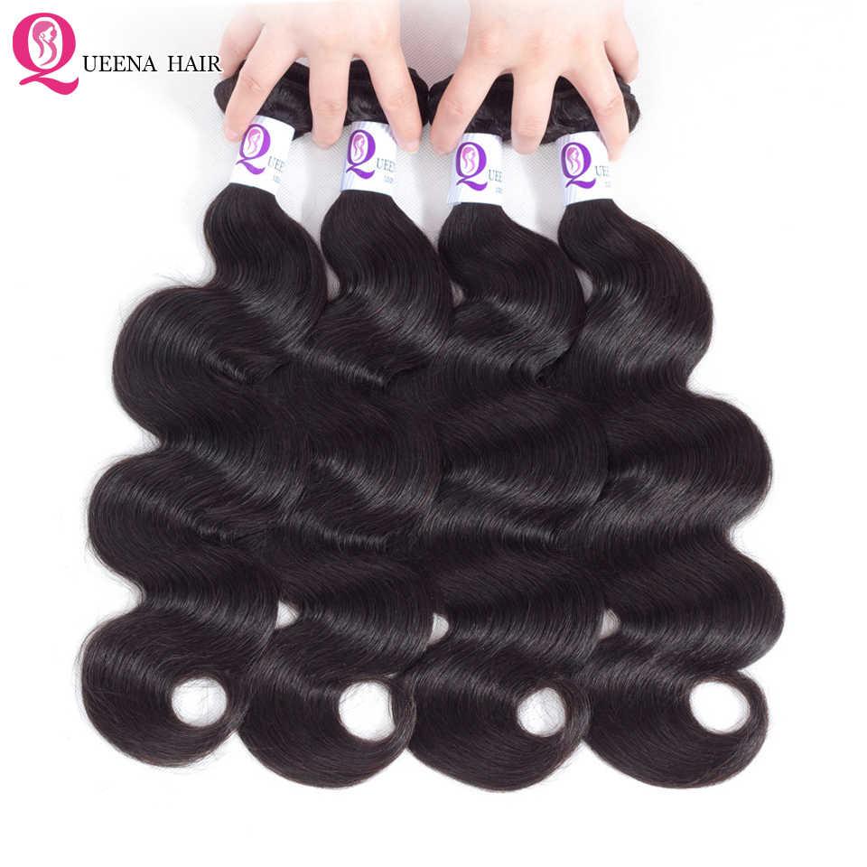 Queena Лидер продаж сырья индийские тела пучки волнистых волос натуральные волосы Реми расширения 100% человеческих волос, плетение 3or 4 Связки предложения