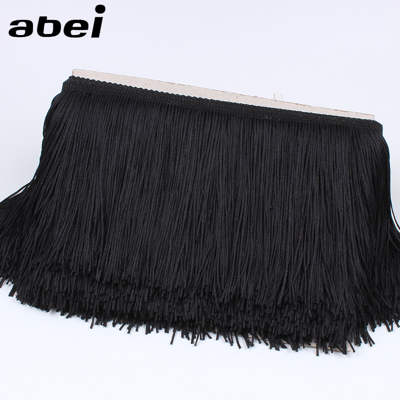 15 Yards Black Trims Fringe With Polyester Thread and Ribbon 25cm Wide