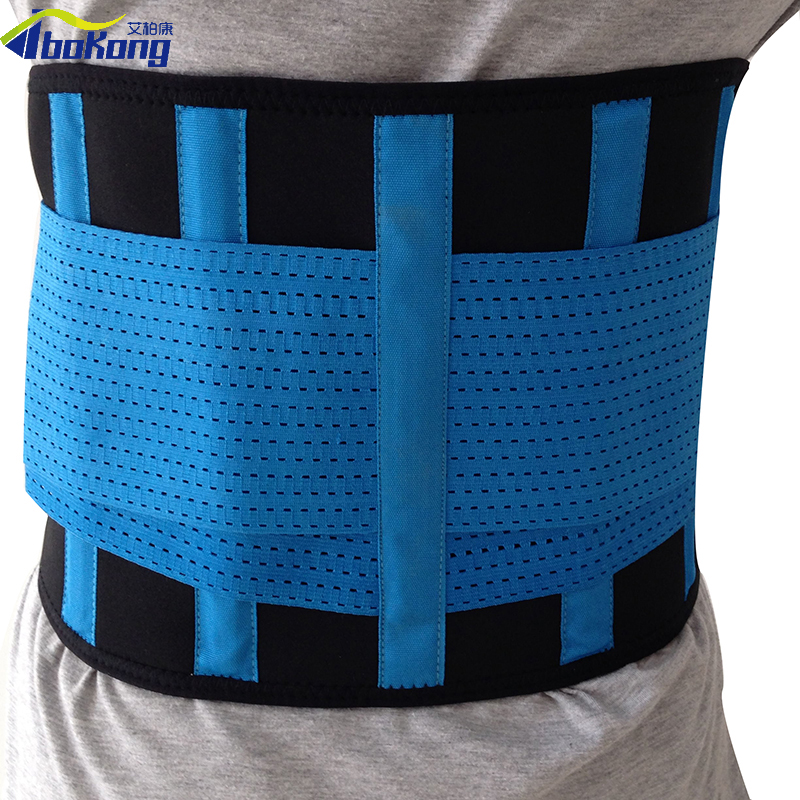 Aibokang HIGH QUALITY WORKING BACK SUPPORT BELT BAND LUMBAR TRACTION APPARATUS NEW DESIGN BACK BRACE PROMOTIOM BLACK SIZE S double pull lumbar support lower back belt brace band waist four aluminium strips protection back waist support belt yw 01m27