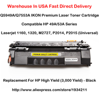Q5949A Q7553A HP 49A 53A Series Toner Cartridge For 1160, 1320, M2727, P2014, P2015 (Universal) Black High Yield (3,000 Yield)