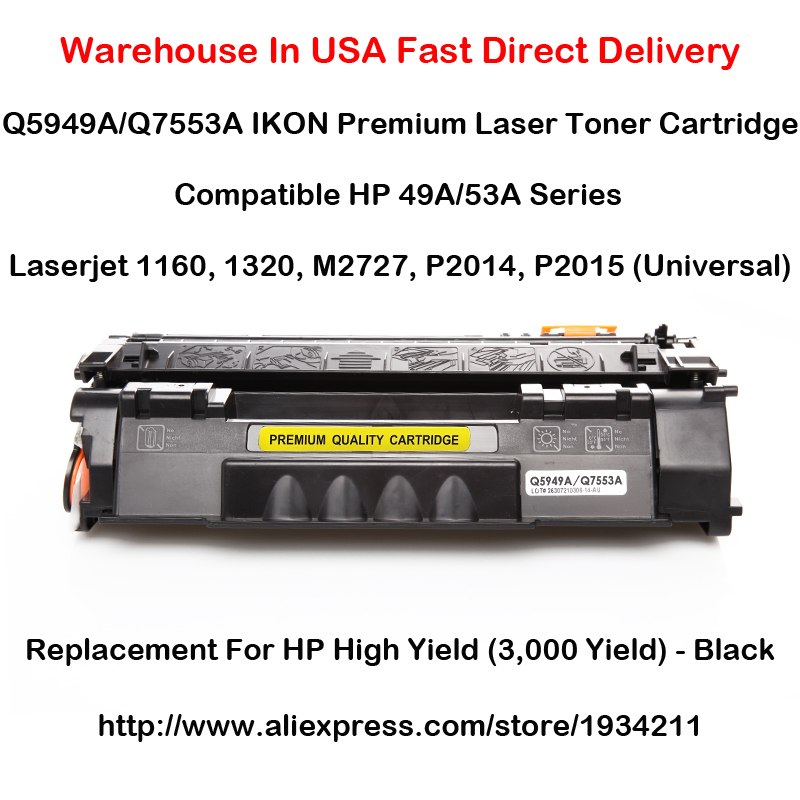 Q5949A Q7553A <font><b>HP</b></font> <font><b>49A</b></font> 53A Series Toner Cartridge For 1160, 1320, M2727, P2014, P2015 (Universal) Black High Yield (3,000 Yield) image
