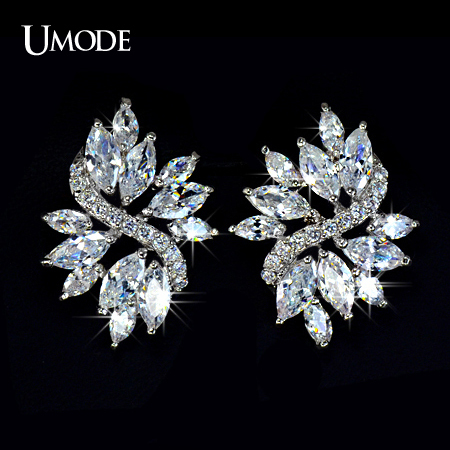 font b UMODE b font Fashion Jewelry Rhodium plated Marquise cut AAA CZ Flower Shaped