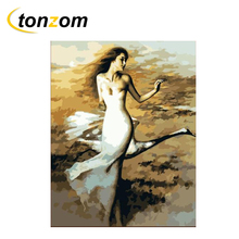 RIHE Charming Girl Diy Painting By Numbers Wind Oil Cuadros Decoracion Acrylic Paint On Canvas Modern Wall Art