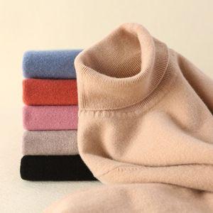 Image 5 - Tendência de Cores Das Mulheres Real de 100% Lã Merino Camisola de Gola Alta Pullover Costela Sólidos Blusas de Colarinho das Mulheres Knit Top Jumper Feminino