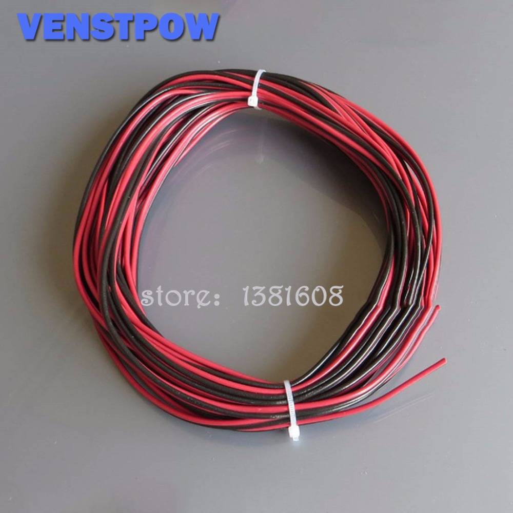 5M/Lot Red Black 2Pins 22AWG LED Extension  Thinned Copper Wire Cable With Wire Cross-section 0.3 PVC Insulated Wire For Car