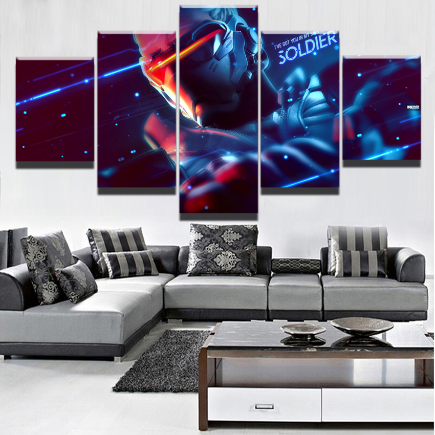 Canvas Modern Home Decorative Paintings Wall Art 5 Pieces Overwatch Soldier 76 Posters For Living Room HD Printed Game Pictures Солдат