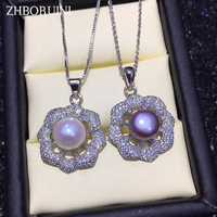 ZHBORUINI Pearl Necklace Natural Freshwater Pearl Zircon Pendant Flower 925 Sterling Silver Jewelry For Women Drop Shipping