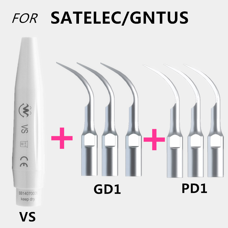 One Set Ultrasonic Dental Scaler Handpiece And Dental Tips Compatible With SATELEC/DTE/GNATUS Teeth Whitening Equipment Dental ultrasonic dental scaler handpiece with tips and torque wrench compatible with ems woodpecker teeth whitening dental equipment