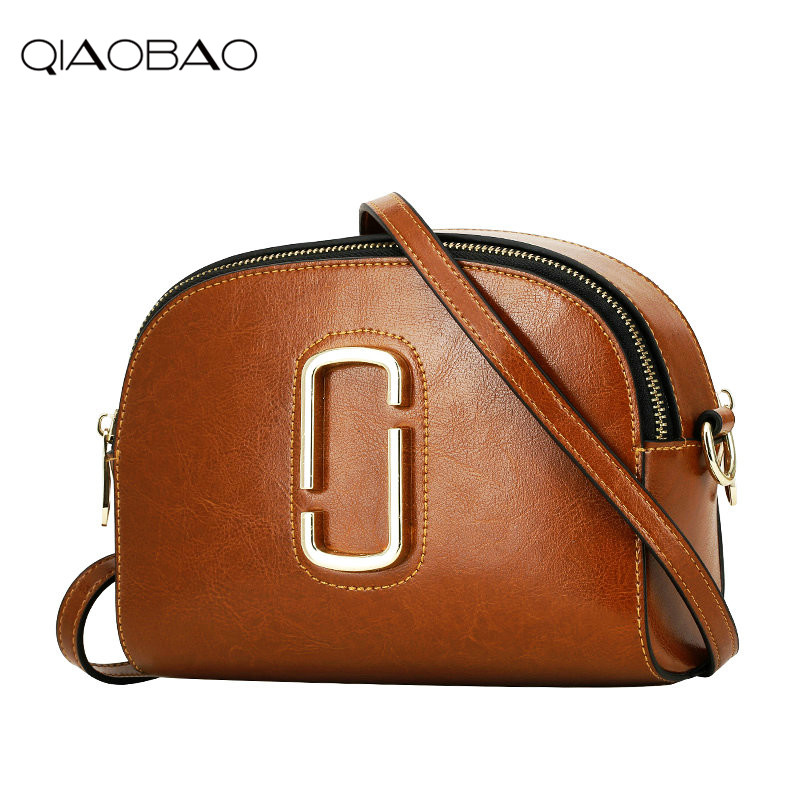QIAOBAO Women Fashion Classic Genuine Cowhide Leather Handbags Female Crossbody Small Flap Bags Famous Brand Sweet Shoulder Bags 2017 new female genuine leather handbags first layer of cowhide fashion simple women shoulder messenger bags bucket bags