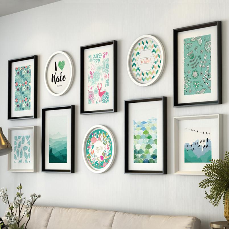 Einfache Moderne Fotowand Wohnzimmer Kreative Bilderrahmen Holz Grosse Grsse Hngen Dekorative Kombination Hochzeit