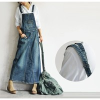 literary vintage sleeveless strap denim A Line dress mori girl 2018 spring