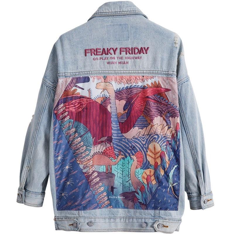 Spring Jean Jacket Hole Female Basics Coat Casual Long Sleeve Outwear Hip Hop Print Coats Loose