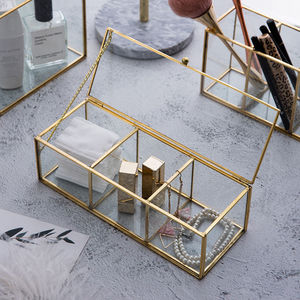 Image 2 - Classic European Glass Makeup organizer with Golden Covered Edge Bathroom Makeup Organizer make up products Cosmetic organizer