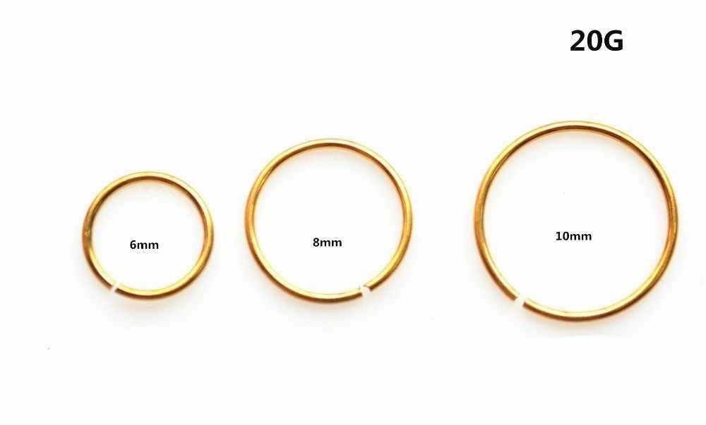 Đồng bằng Nose Fake Đồ Trang Sức Hoop Clip on Ear Lip Stud Phẫu Thuật thép Vàng Cầu Vồng Màu Đen 18 Gam 20 Gam 22 Gam 6 mét 10 mét Chọn Kích Thước