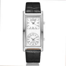 Fashion Minimalist Men Women Watch Creative Double Dial Rectangular Quartz Leather Ladies Bracelet Clock Couple Wristwatches