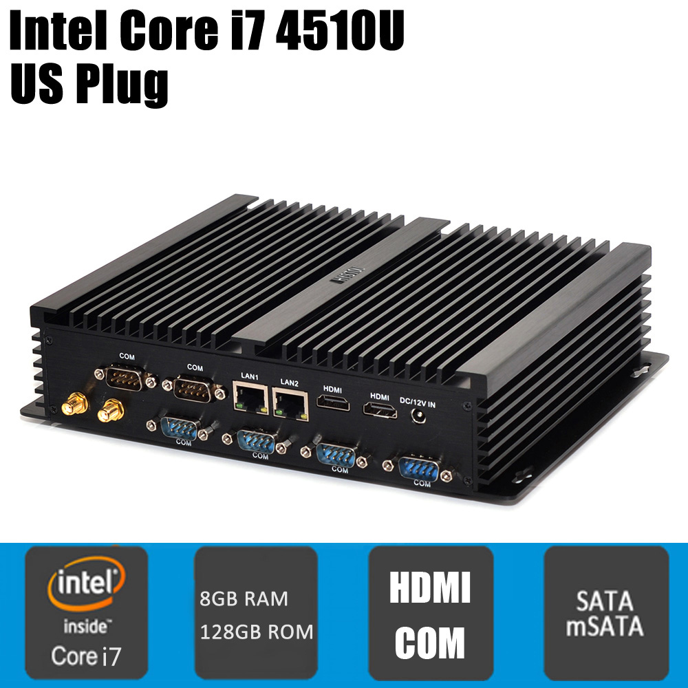 Original HYSTOU FMP04B Fanless 12V Mini PC Core I7-4510U I5-4200U I3-4010U Intel QS77 With SATA / MSATA Port new top 4512d 4u industrial computer case server computer case hard drive computer case