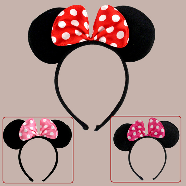10pcs Minnie Mouse Ears Mickey Party Supplies Accessories Headbands Birthday Decoration Baby Shower Headband