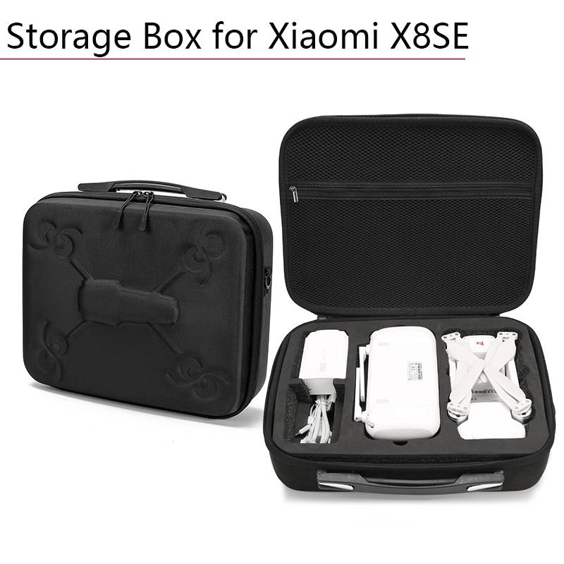 Black Suitcase Portable Waterproof Storage Bag Box Carrying Case Suitcase with Zipper Device Drone Accessories for Xiaomi X8SE