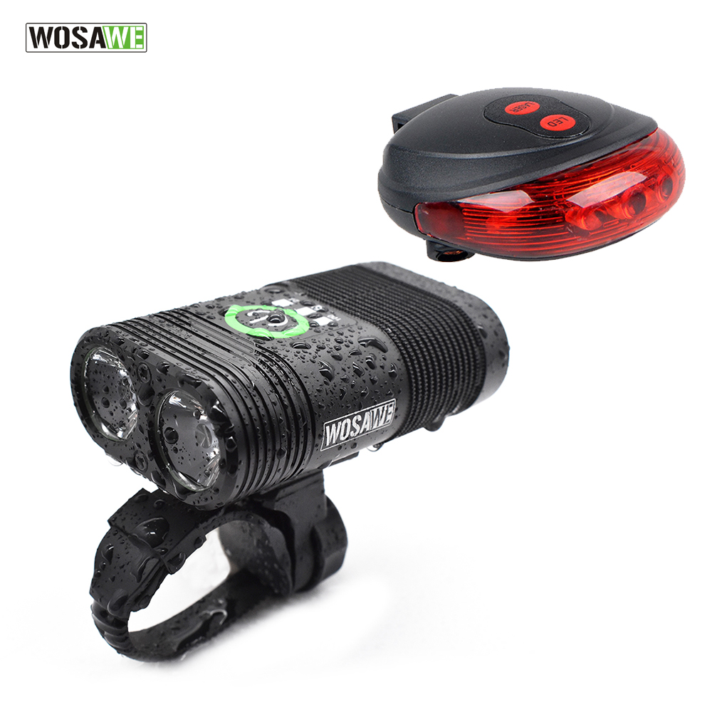 WOSAWE 2400 Lumens Bike Light 2-XPE LED Lamps Bicycle Light Headlight Head front Lights flash light+Back Safety Rear Light decaker 2256 bicycle front light page 2