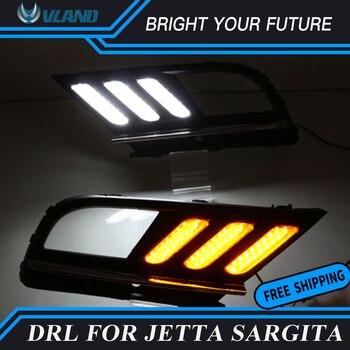 Car Daylight for Volkswagen Jetta MK7 Sagitar 2016 2017 LED Daytime Running Light DRL Streamer Yellow Turn Signal