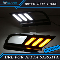 Car Daylight for Volkswagen Jetta MK7 Sagitar 2016 2017 LED Daytime Running Light DRL Streamer Yellow Turn Signal
