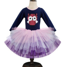 AmzBarley Girls Cartoon Tutu Dress Long sleeves Sequined owl Princess Dresses kids clothing cotton Lace Birthday Party outfits