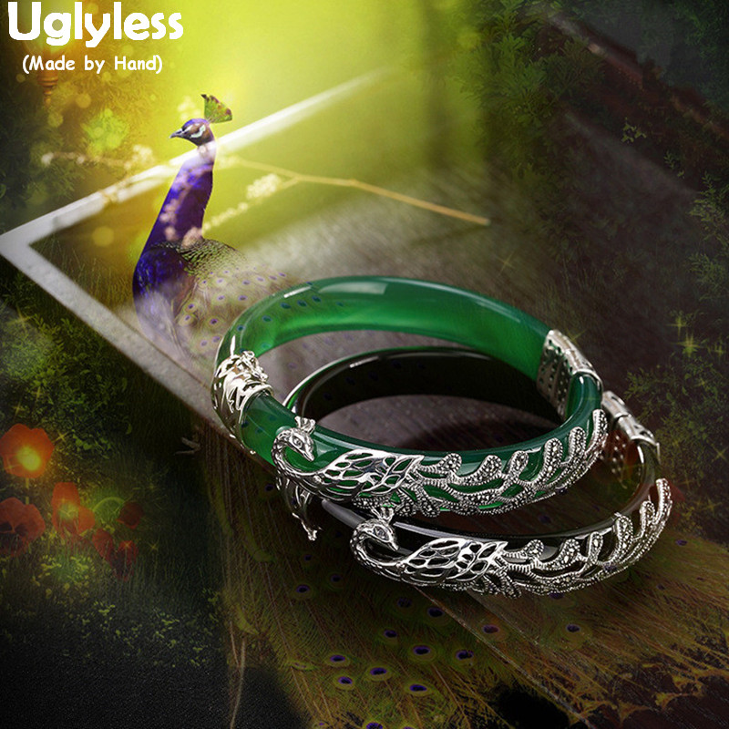 Uglyless 100% Real Solid 925 Sterling Silver Peacock Bangles for Women Black Agate Bangles Jade Bracelets Phoenix Fine Jewelry