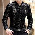 Importado clothing marca de luxo mens camisas camisa masculina sociais chemise homme marque luxe cheval slik camisas de veludo fino